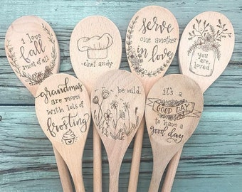 Custom Lettered Floral Wreath Design Personalized Wood Spoon Woodburned Woodburning Gifts