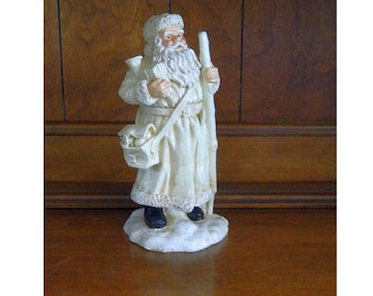 White Old World Santa Figurine - Vintage Rustic Santa