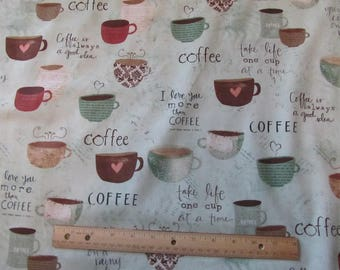 Pale Green I Love Coffe Phrases Fabric By The Yard