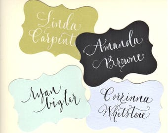 place cards tags for wedding  - bracket die cut shape with hand lettering