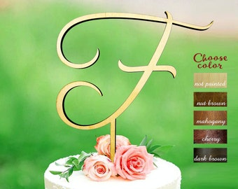 Letter f cake topper, cake toppers for wedding, wedding cake topper, monogram cake topper wedding, initial wooden, cake topper f, CT#285