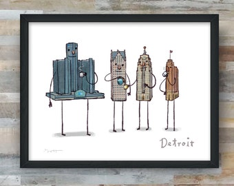 Coffee with Detroit- art print