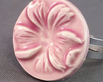 Porcelain Ring Flower Ring Ceramic Ring Pink Flower Round