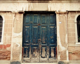door photography, venice italy, dark blue decor, beige decor, architecture, travel photography, europe art V02