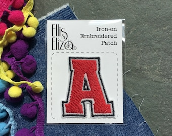 Custom Letter Embroidered Patch - Embroidered Patches - Sew On - iron on - Wool Felt - patch game - festival - choose from 7 colours