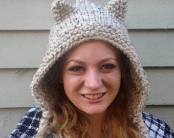 hand knit hood hat cat knit hat cat ears womens accessories winter hat womens hood hat ~ hood cat ears ~  Made to Order