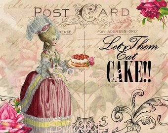 Instant Download - Marie Antoinette  Let Them eat Cake-  French - Printable Digital Collage Sheet - Download
