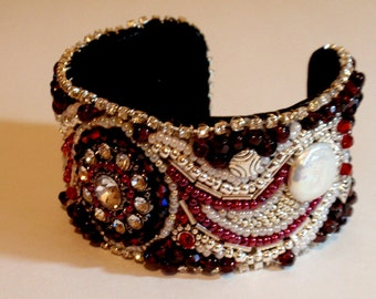 Cuff Bracelet - Red, Silver, Rhinestone and Pearl