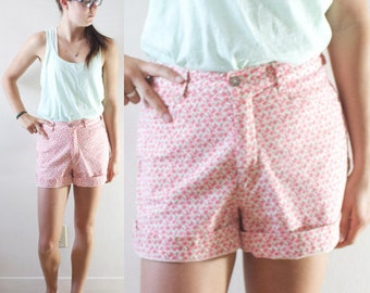 SALE Vintage Retro Pink Lee Levi Style Flower High Waisted Shorts