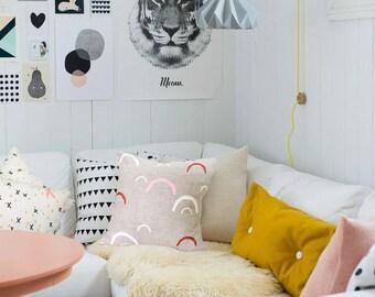 "Screen Printed Hand Screen Printed Linen ""Little Hills"" Pillow / Cushion Cover"