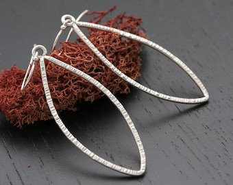 Marquise Silver Earrings | Sterling Silver Marquise Earrings | Marquise Dangle Earrings