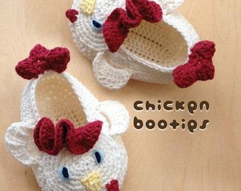 Crochet Pattern Baby Chicken Booties Rooster Preemie Socks Chicks Applique Cockerel Cock Slippers Crochet Pattern Baby Booties Animal Shoes