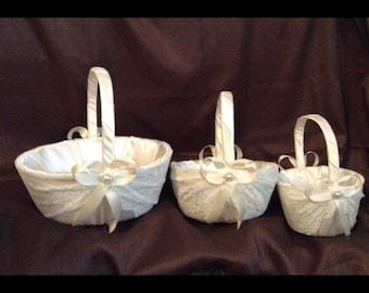 wedding flower girl basket ivory or white color custom made lace