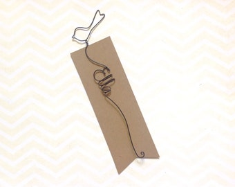 Personalized Bookmark with Bird, Personalized Wire Bookmark with Little Bird Sillouhette