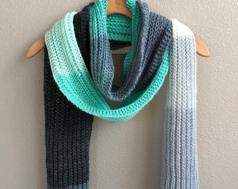 Handmade Knit Textured Rib Stitch Mint Cream Gray Scarf Extra Long Acrylic Wool Free Scarf Soft and Squishy Scarf Fall Winter Scarf