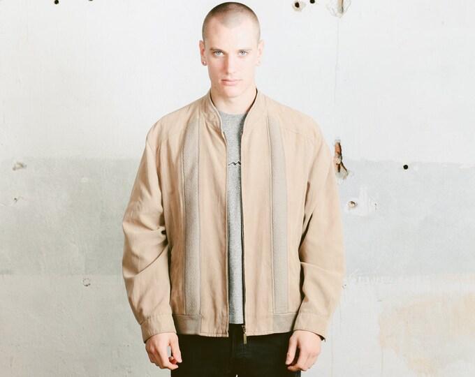 Faux Suede Bomber Jacket . Vintage Mens Brown Jacket Zip Up 80s Spring Jacket Flight Jacket Aviator Jacket Short Coat Outerwear . size Large