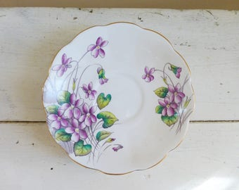 China Saucer, Royal Albert Flower of the Month Series Number 2 Violets Saucer, royal albert china, purple flowers, cute saucer