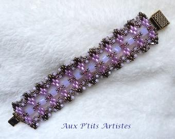 "bracelet ""lucrezia"" superduo lilac and purple opal"