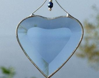 Blue Beveled Stained Glass Heart Suncatcher