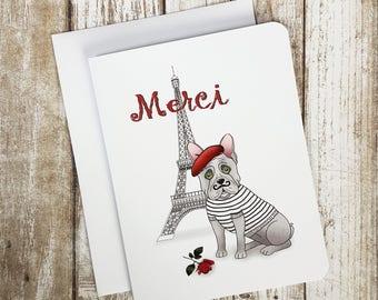 Thank you Card,  French Thank you Card,  Dog Card, Blank Card, French Bulldog Card, French Bulldog, Merci Card