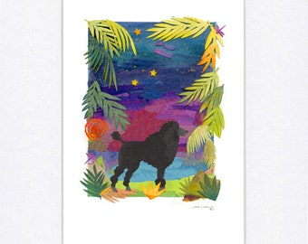Black Poodle In the Night 8 x 10 Matted Print