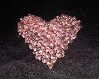 Clear Pink Vintage Glass Teardrop Beads (75)