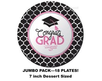 pink and black graduation plates, jumbo party package, congrats grad party decorations, class of 2018, 2018 graduates, graduating, nursing
