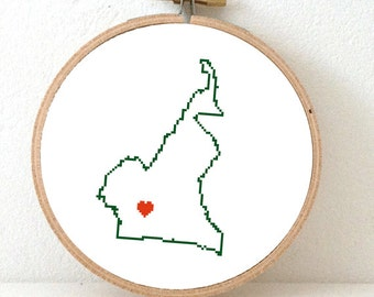 CAMEROON Map Cross Stitch Pattern. Cameroon embroidery pattern highlighting Yaoundré.Gift for african friend