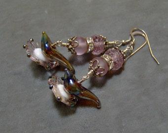 Lampwork Earrings - Artisan Lampwork Beaded Sterling Silver Earrings-Art Beaded Earrings - SRAJD-Statment Earrings - Dangle earrings