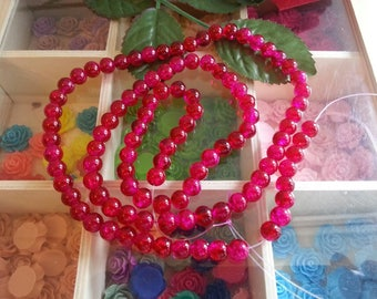 """yarn of 100 glass beads Crackle beads strands, round, firebrick, 8 mm. hole: 1.3 ~ 1.6 mm 31.4 """""""