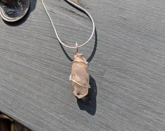 Golden healer quartz crystal pendant