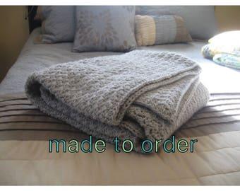 Made To Order Crochet Blanket, Custom Blanket, Gray Crochet Blanket, Blanket, Throw Blanket , Grey Throw Blanket, Chunky Crochet Throw, Croc