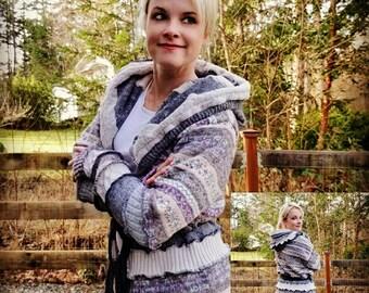Fair isle sweater, woodland clothing, upcycled sweater, belted recycled sweater hoodie, katwise, festival sweater, upcycled boho coat