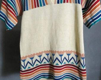Vintage 1970's Keyhole Retro Style Shirt - Multi Colored - Hukapo Sportswear - M Medium - Stripes and Zig Zags