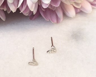 Tiny Sterling heart studs