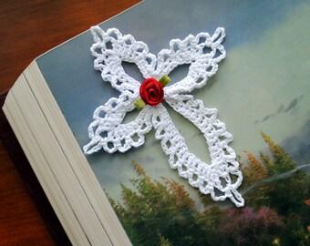 "Small crochet cross, white, 4 1/2"""