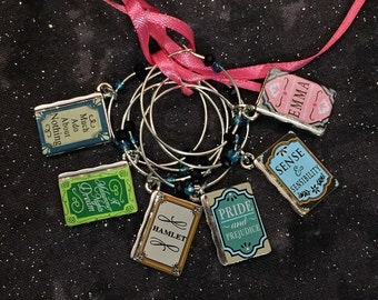 Wine charms, book club, wine glass markers