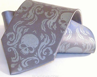 Skull Damask Men's necktie - Hand print silk screen by RokGear print to order colors of your choice