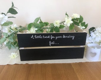Wooden crate for wedding dancing shoes for guests