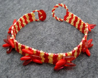 Beaded Cuff Bracelet - Petite Red Striped Peacock by randomcreative on Etsy