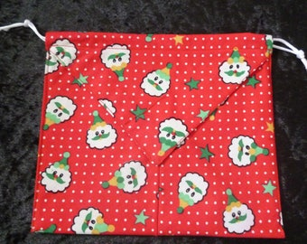 Red Christmas fabric origami pouch