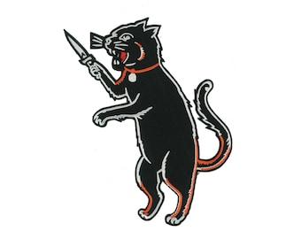 GIANT Back Jacket Patch Iron On Black Cat Switchblade dagger knife Oddity Biker Motorcycle PUNK Anarchy Roller Derby Bowling Team Gang