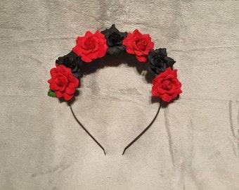 Black and Red Rose Headband