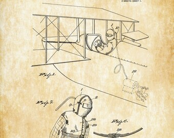 Aviator Suit Patent - Airplane Blueprint, Vintage Aviation Art, Airplane Art, Pilot Gift,  Aircraft Decor, Pilot Suit