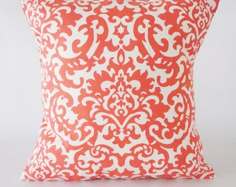FABRIC SWATCH. Damask Coral Pillow Cover,  Damask pillow, decorative pillow cover, throw pillow, pillow, home decor, Coral and White, Pillow