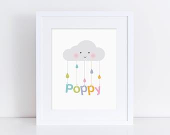 Happy Cloud (Personalised) - Nursery Print - Children's Wall Art - Baby Nursery Decor - Rainbow, Pink or Blue