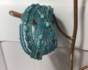 teal cuff bracelet