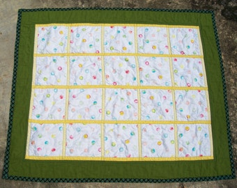 SALE Bubbly Dots Quilt for Little Boy Toddler Baby Boy Quilt with Bubbles Bordered in Olive Green and Yellow