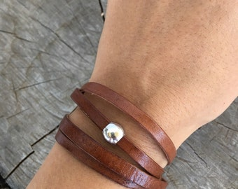 Genuine Leather Wrap Bracelet / Womens Leather Bracelet / Womens Leather Jewelry / Womens Wrap Jewelry / Boho Jewelry / Gifts for Her