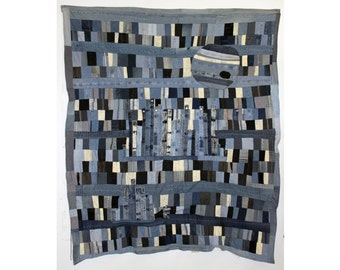 "Large Quilt from Denim Jeans--""Europa"""